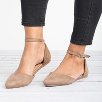 Ankle Strap Ballerina Taupe Flats