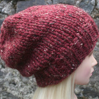 Hand Knit hat Woman's hat-  Rustic Mega Chunky- slouchy hat- beanie hat