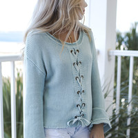 Loveland Sage Lace Up Sweater