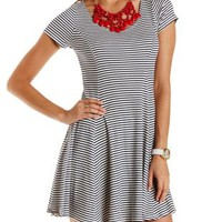 Combo Striped & Ribbed Skater Dress by Charlotte Russe