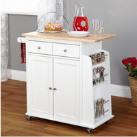 Two-Door Cabinet Kitchen Cart One Utility Drawer Four-Wheeled Base White Finish