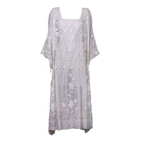 Embroidered Batiste and Filet 1920's Dress