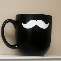 Mustache Mug  Black  Coffee Tea Latte by TheBeautifulHome on Etsy