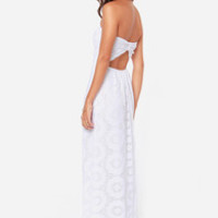 No Less Than Flawless Strapless White Lace Maxi Dress