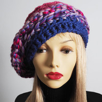 Pink & purple slouchy beanie - Valentine hat - Ready to ship - Chunky knit rasta tam - Multicolor crochet dreads beret - Fashion knit crown