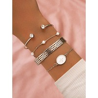 4pcs Rhinestone Decor Bracelet