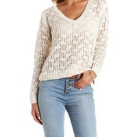 Oatmeal V-Neck Open Knit Pullover Sweater by Charlotte Russe