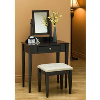 Cappuccino 2Pcs Vanity Set With A Micro-Fibre Stool