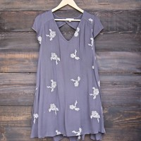 embroidered flowy dress - charcoal