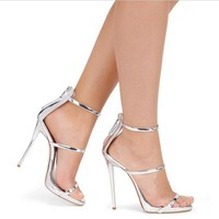 Harmony Metallic Strappy Sandals Silver Gold Platform Gladiator Sandals Women High Heels Shoes Summer shoes size 4-12