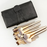 12-pcs Champagne  Color Make-up Brush 18-pcs Beige Black Makeup Brush Sets 24-pcs Make-up Brush Set [6532362951]