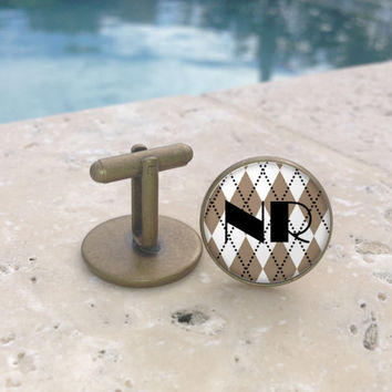 Personalized Vintage Mens Cufflinks, Personalized Tie Clip, Monogram Cufflinks, Monogram Tie Clip, Argyle Mens Cufflinks, Gifts for Him