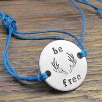 Be Free Friendship Bracelet Personalized Hand Stamped ONE Tie On Hemp Cord ROUND Besties Friends BFF Handstamped Couples Jewelry