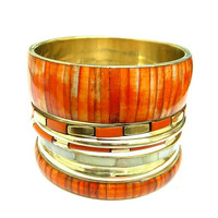 Orange Color Wooden Bangles With Mother Of Pearl Set Of 7Pcs