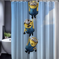 Minions Shower Curtains Waterproof Fabric 165x180cm Bathroom Customized Shower Curtains with Hooks