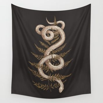 The Snake and Fern Wall Tapestry by jessicaroux
