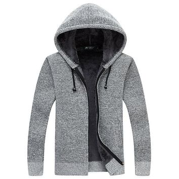 Cardigan Masculino 2017 New Winter Thick Warm Sweater Men Wool Sweaters High-quality Men's Hooded Loose Style Casual Coats XXXL