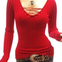 PattyBoutik Corset V-Neck Ribbed Long Sleeve Knit Jumper Top