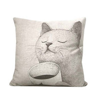 SUMMER SALE - Cat pillow made with natural linen-decorative throw pillow with cat and coffee print- animal print throw pillow.