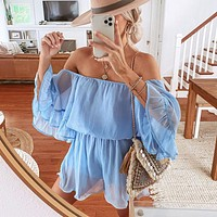 Women's stitching short-sleeved loose-fitting solid color chiffon jumpsuit dress off-shoulder