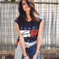 Tommy Women Fashion Print Short sleeve crop top T-shirt