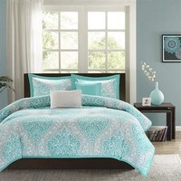 Full / Queen Aqua Blue & White Damask Comforter Set