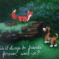 """Fox and the Hound """"We'll be friends forever..."""" Quote Print"""