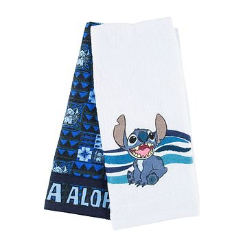 Disney Parks Stitch Aloha Greeting Cotton Dish Towels Set New with Tags