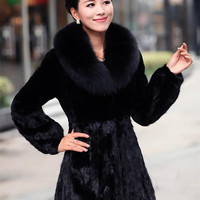 Womens Faux Fox Fur Coat luxury Ladies long womens Mink Hair fur noble grace body slim Winter Warm topwear Large size S-4XL WT29