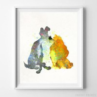 Lady and the Tramp Type 1 Wall Art Disney Watercolor Poster Nursery UNFRAMED by Inkist Prints