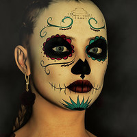 Sugar Skull - Day Of The Dead Face Paint Digital Art by Liam Liberty - Sugar Skull - Day Of The Dead Face Paint Fine Art Prints and Posters for Sale
