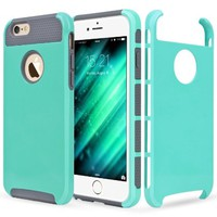 iPhone 6S Case / iPhone 6 Case, Mouselemur Dual layer Shockproof Protection High Impact Hybrid Armor Case/Cover for iPhone 6/6S 4.7 inch (Turquoise/Grey)