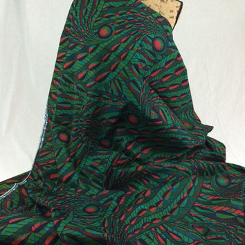 Nigerian Fabric--African Wax Print Fabric--Ankara Fabric--Green, Turquoise, Black and Red Leaves--African Fabric by the HALF YARD