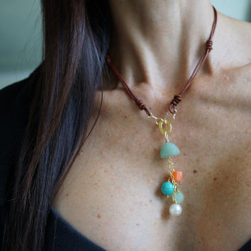 Buddha Necklace Handmade Knotted Genuine Brown Leather. Gold, Turquoise, Coral, Pearl, Jade. Boho Style Necklace Womens Bohemian Jewelry