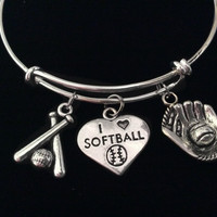 I Love Softball Bats Mitt Glove Expandable Charm Bracelet Adjustable Bangle Sports Team Coach Gift
