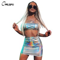 CWLSP Sexy Women's Set Summer Dress 2018 Strapless Crop Tube Tops With Holographic Skirt Shiny PU 2 Pieces Set Party Clothes