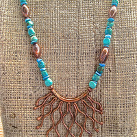 Sale Copper and Turquoise Necklace Hill Tribe Organic Copper Pendant Genuine Turquoise and Copper  Artisan Gemstone Jewelry