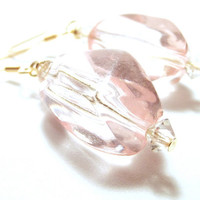 Handcrafted Jewelry Wire Wrapped Pink Lucite Bead Dangle Earrings
