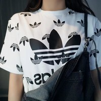 Adidas Women Fashion Short Sleeve Pure cotton Print Round collar Top