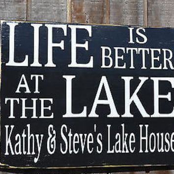 Lake Decor, Lake House Signs, Personalized Family Name Wood Sign, Distressed