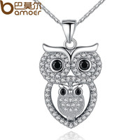 Vintage Owl Pendant Necklace with AAA Austrian Zircon