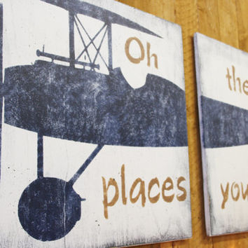 Oh The Place You'll Go Vintage Airplane Nursery Wall Decor Boys Nursery Decor Navy Nursery Distressed Wood Vintage Nursery Above Crib Decor