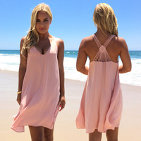 Diamond Back Shift Dress In Blush Pink