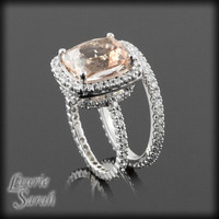 Cushion Cut Morganite Engagement Ring with Diamond Eternity Shank and Diamond Eternity Wedding Band in 14kt White Gold - LS2743