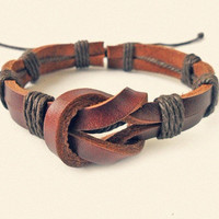 Leather and Cotton Ropes Woven Men Leather Jewelry Bangle Cuff Bracelet Women Leather Bracelet  818A-1