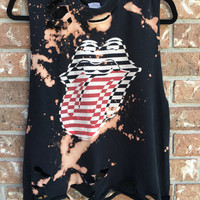 THE ROLLING STONES bleached, distressed, band concert T  shirt, ripped, torn, shredded, rock n roll, tank