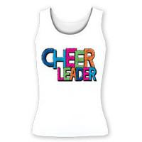 Printed Cheer Leader Color Block Fitted Tank Top