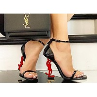YSL Yves Saint Laurent Fashion Women Sexy Letter High Heels Shoes Sandals 12#