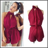 Women's Trending Popular Fashion 2016 Red Halter Neck Romper Trousers Pants  _ 3676