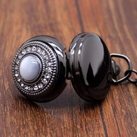 Cat's Eye Gunmetal Vintage Style Mirror Pocket Watch Necklace For Woman